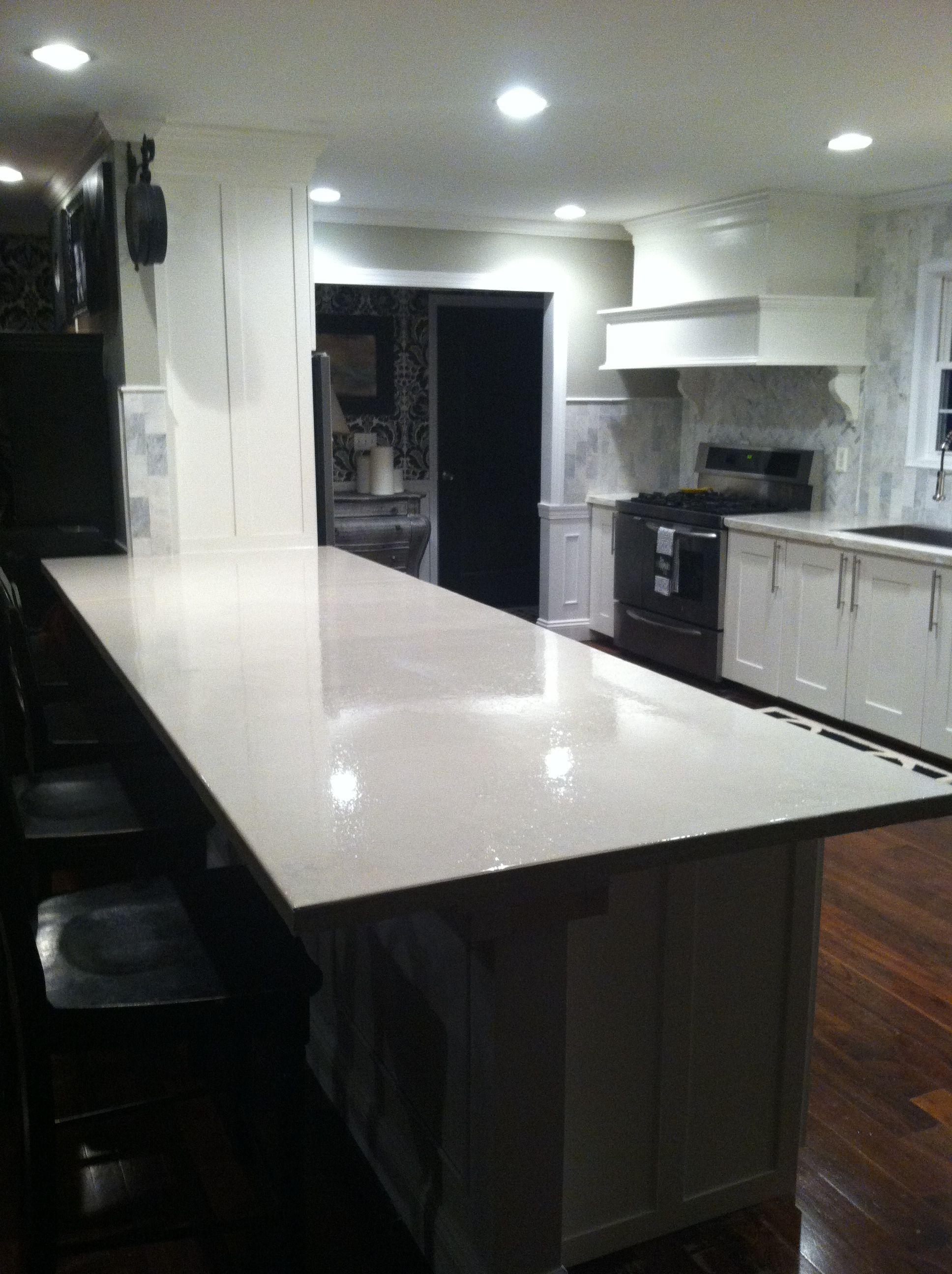 High Gloss Sealed White Concrete Countertops Kitchen