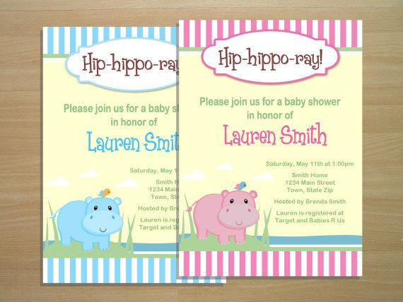 Hippo Baby Shower Invitation Digital File By Squigglesdesigns