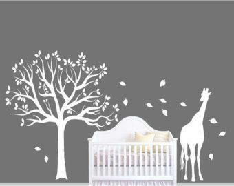 Kinderzimmer wandgestaltung giraffe  Kindergarten weiß Baum & Baum Wand Wandaufkleber Giraffe Wand ...