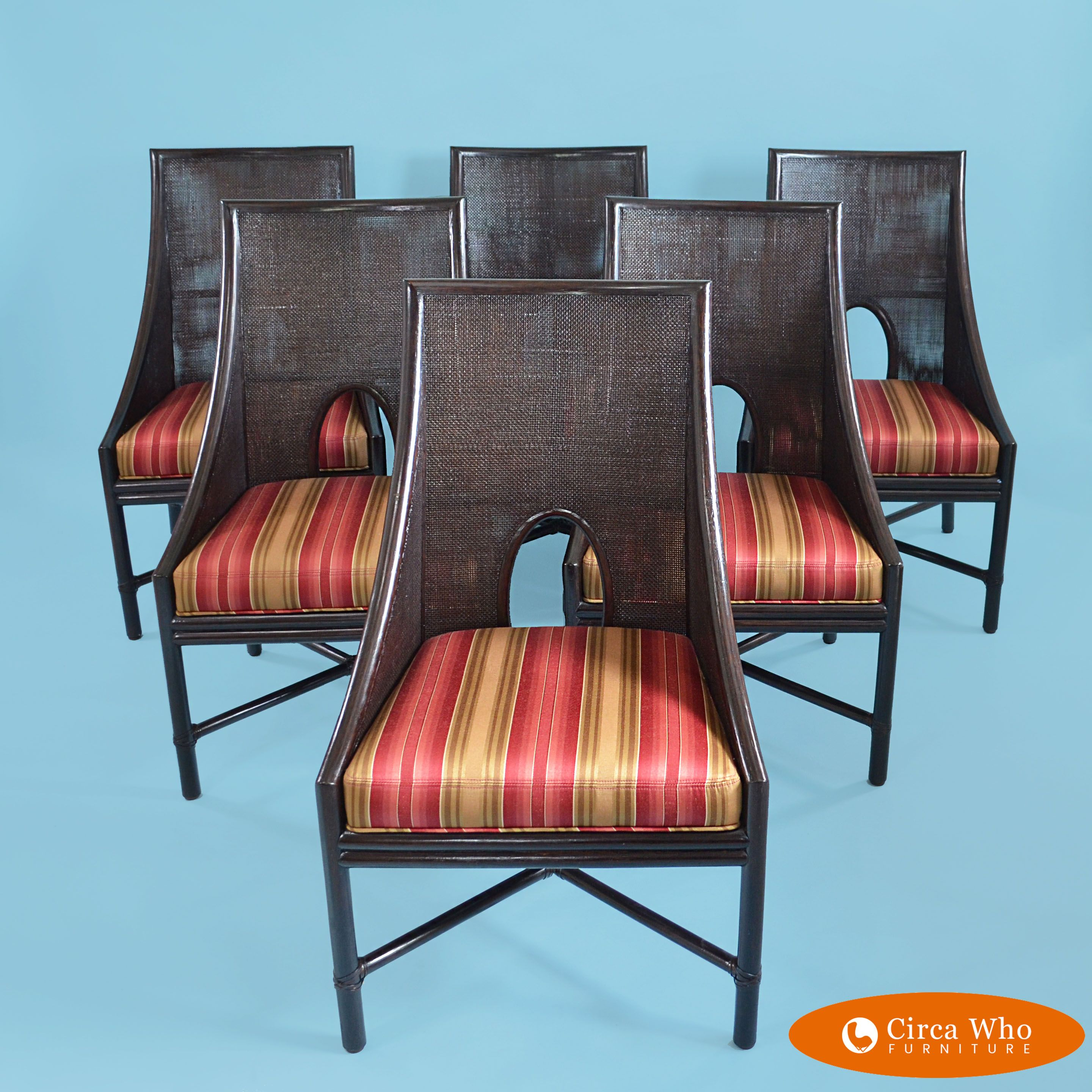 Set Of 6 Caned Chairs By Mcguire Circa Who Chair Rattan Bar Stools Chippendale Chairs