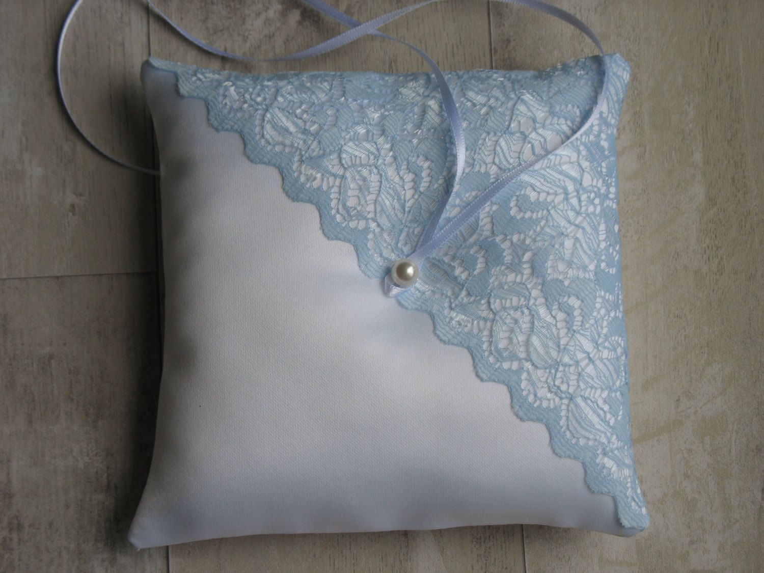 Ring Cushion White Bearer Pillow With Sky Blue Lace 17 By Wonderlandfound On Etsy Perfect For Manchester City Football Fans