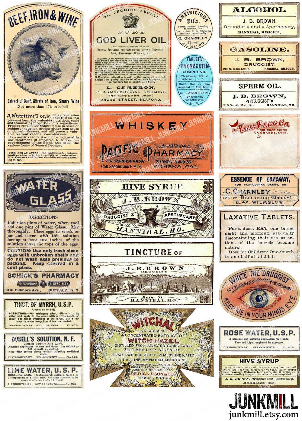 Apothecary Vintage Apothecary And Medicine Labels Antique Labels For Drug Stores Snake Oil Medici Printable Collage Sheet Collage Sheet Apothecary Labels