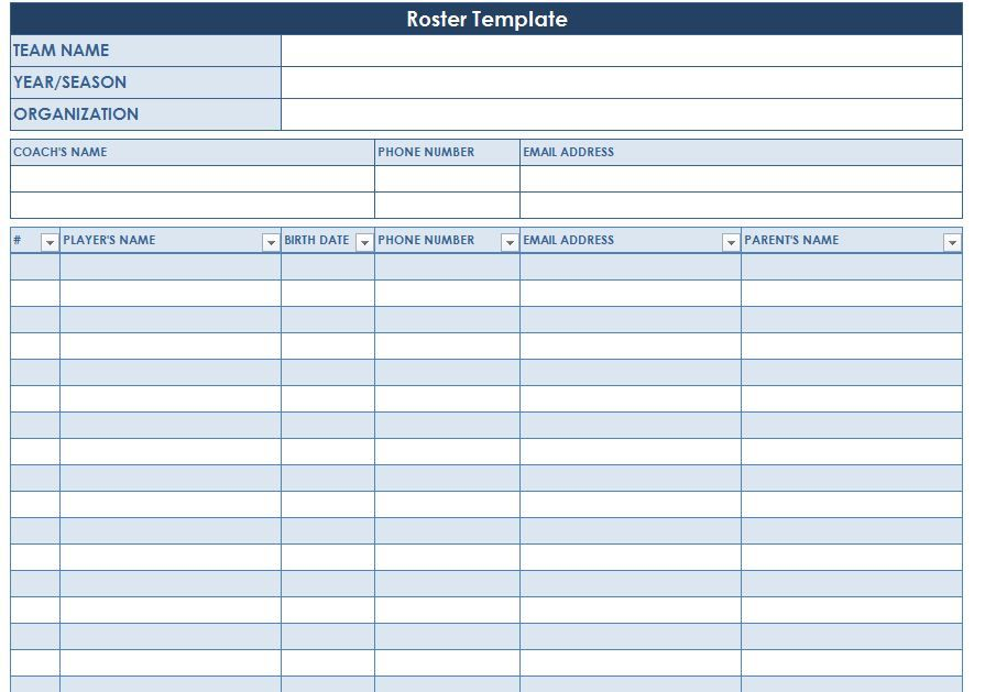 Screenshot Of The Roster Template  Baseball    Hockey