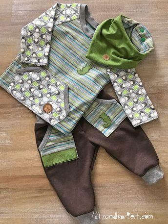 Shirt, Hose, Wendehalstuch fürs Baby mit Pinguin , Streifenjersey und Snappap Schnittmuster Klimperklein rundkariert ruka unikate #outfitweihnachtsmarkt