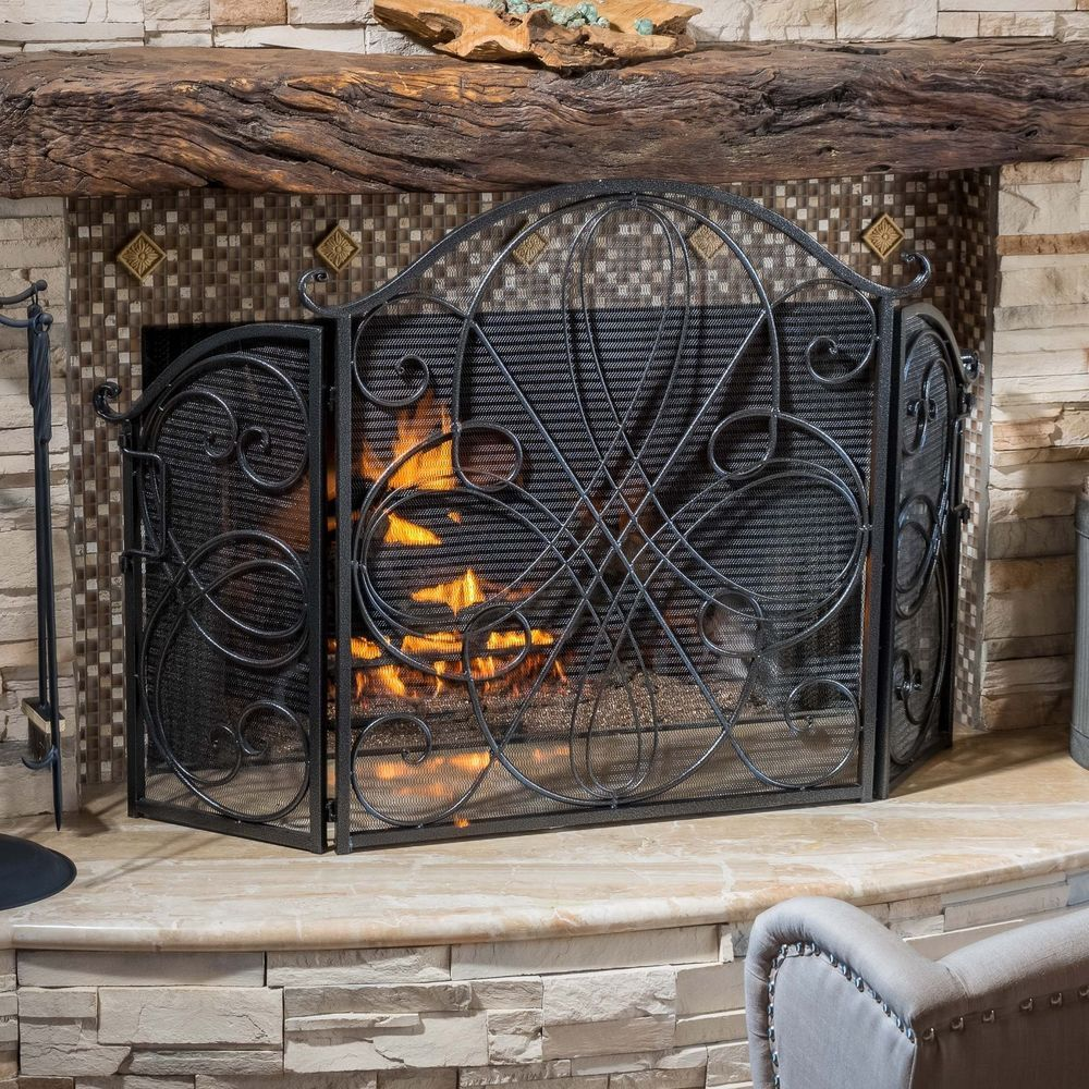Indoor accessories black brushed silver finish wrought iron indoor accessories black brushed silver finish wrought iron fireplace screen teraionfo