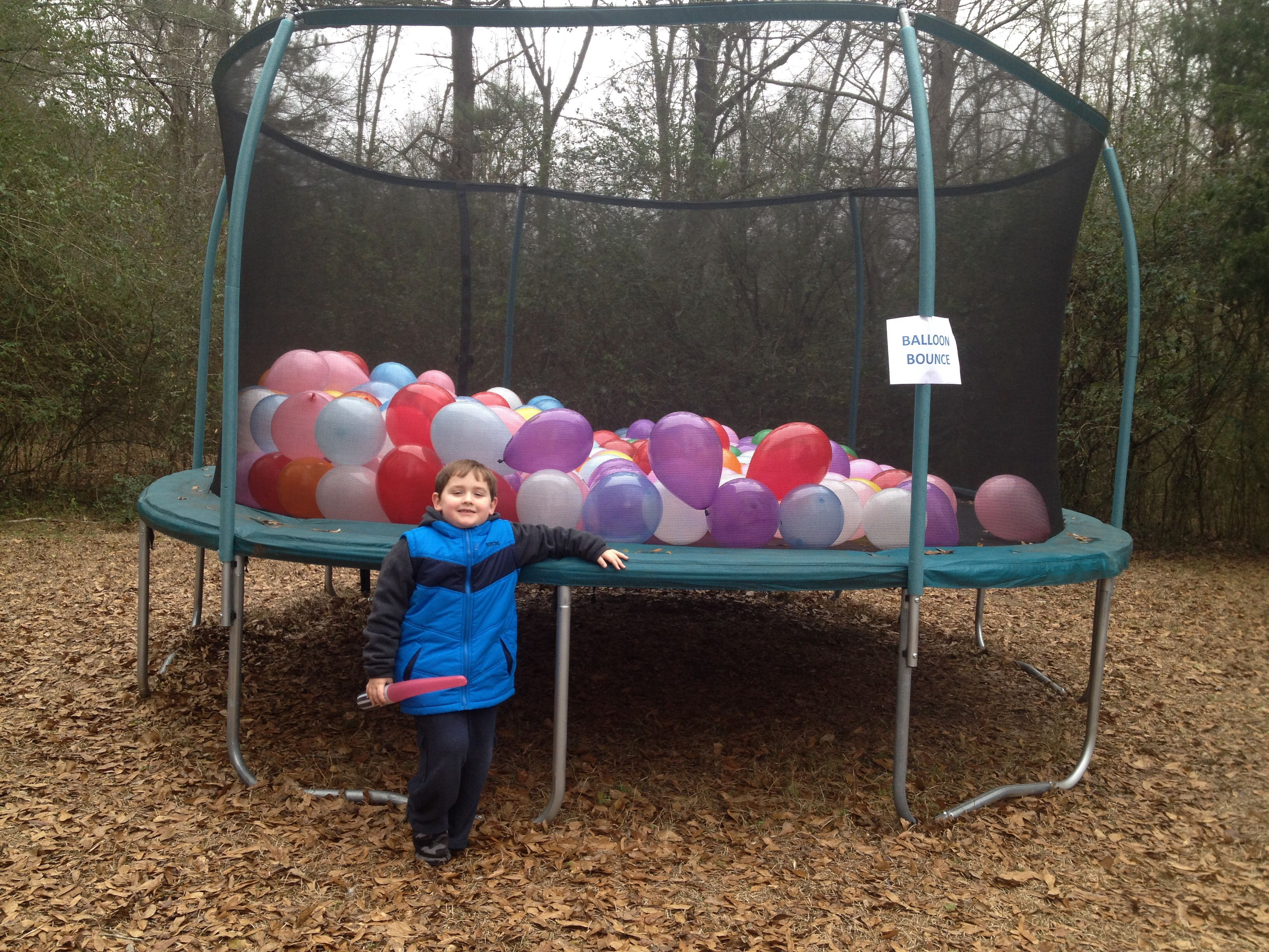 Ballon Bounce  over 200 balloons filled the trampoline for my 6 yr old birthday ... It was a big hit for the kids & adults!