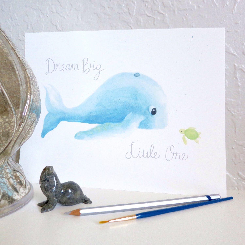 dream big little one whale and turtle art print whale art print