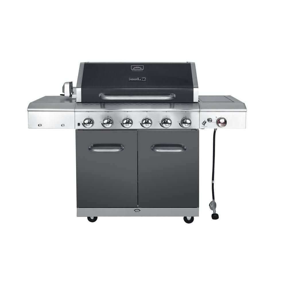 Nexgrill Deluxe 6 Burner Gas Grill With Searing Side Burner In Slate 720 0896b The Home Depot Propane Gas Grill Gas Grill Propane