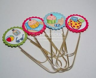 Decorated paperclips. I'm going to use a food theme, to mark favorite recipes in my cookbooks.
