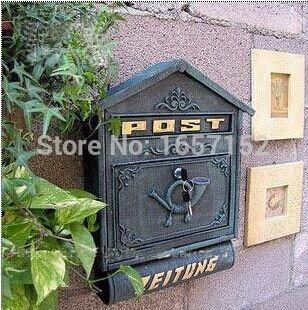 Dark Green Large Cast Iron Wall Mailbox With Newspaper Zeitung Holder Cast Aluminum Wall Mount Mailbo Hanging Wall Decor Iron Wall Wall Mount Mailbox