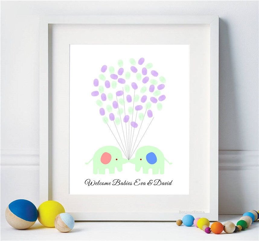 Baby Elephant Twins Fingerprint Balloons Guest Book For Baby Shower