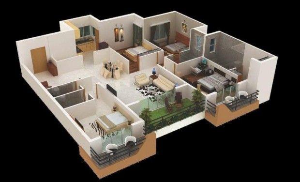 แปลนบ้านสี่ห้องนอน