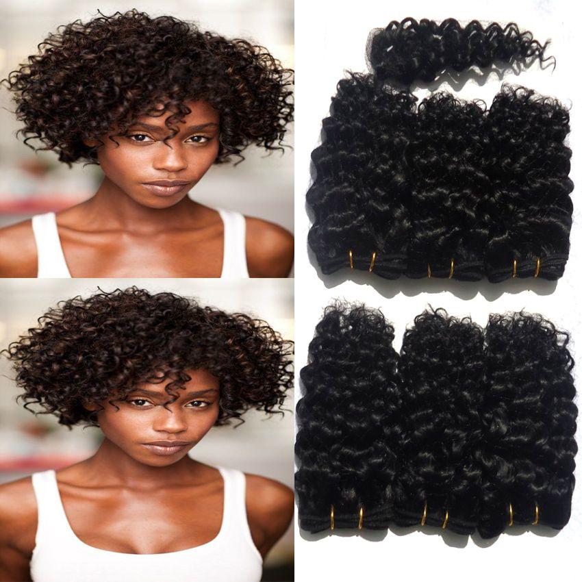 Natuurlijke Zwarte Tissage Bresilienne Kinky Krullend Haar Met Sluiting Korte Vrouwen Haar Stijl 8 inch 6 Bundels Met Top Sluiting Humanhair