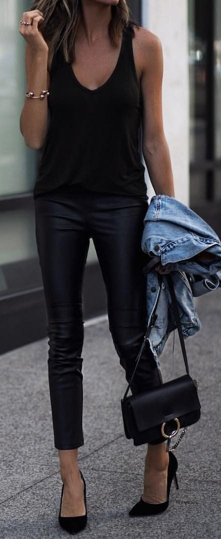 summer outfits black tank  black leather skinny pants