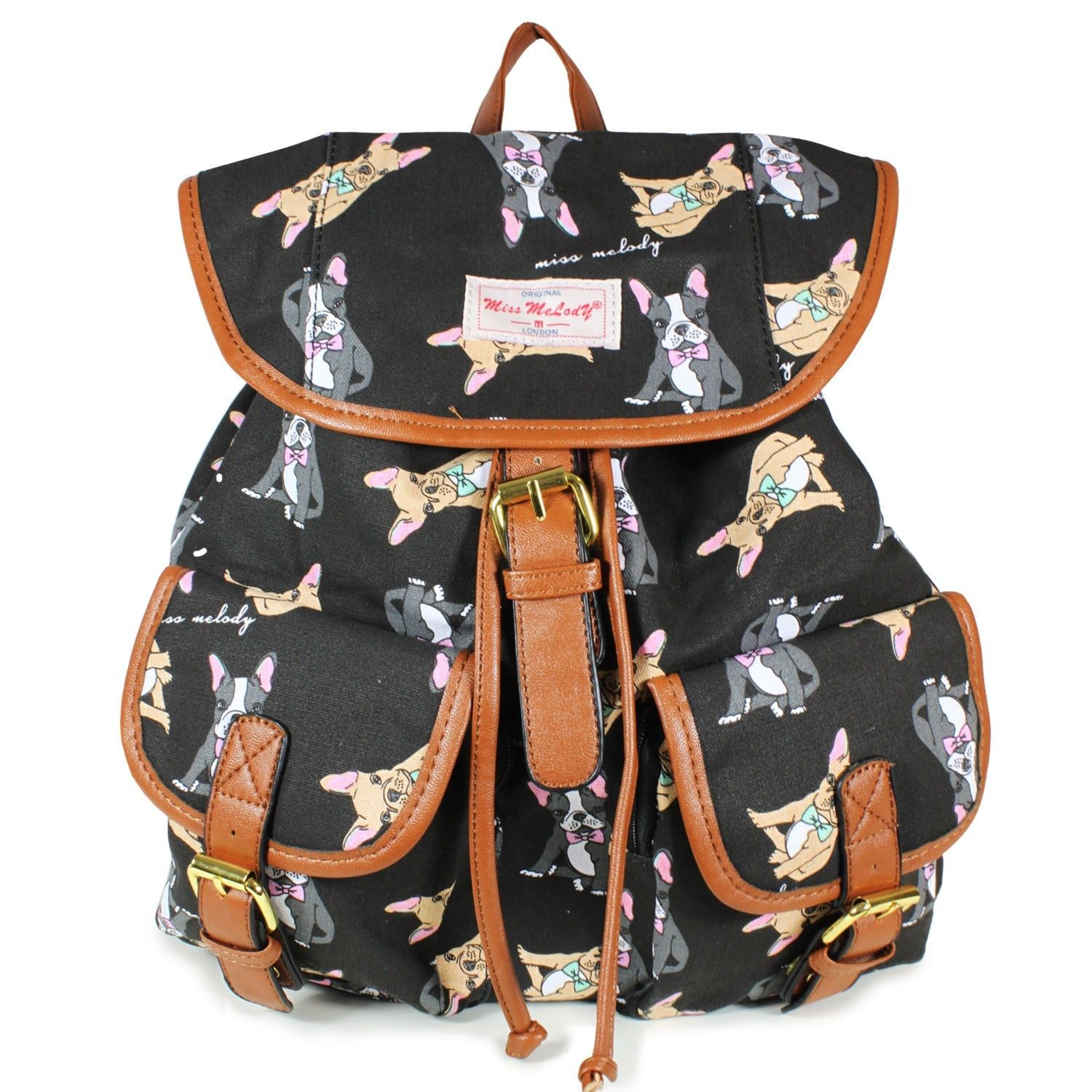 Black French Bulldog Rucksack with a French Bulldog Print