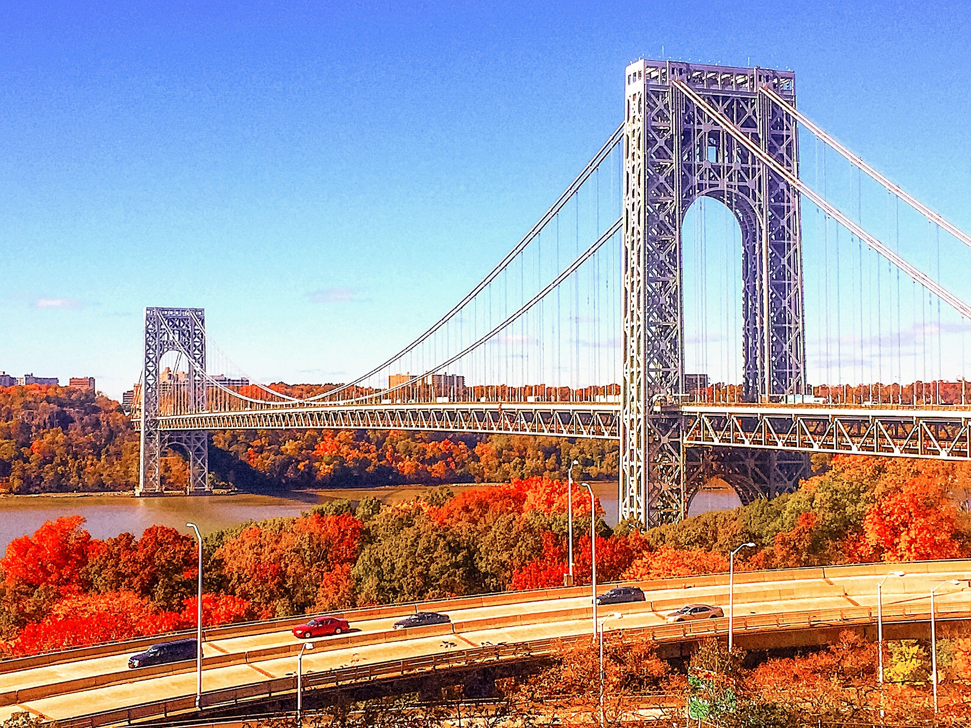 The George Washington Bridge spans through fall color. Kelly Kopp ...