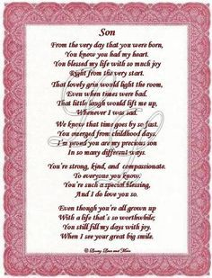 Son Poems Poem Is About A Special May Be Personalized With