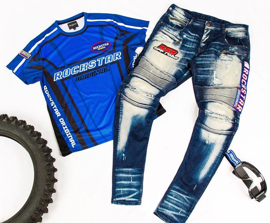 Introducing The All New Hayato Set From The Limited Edition Motocross Capsule The Tee Features A Blue Colorway And Moto X Rs P Rockstar Denim Biker Pants Tees