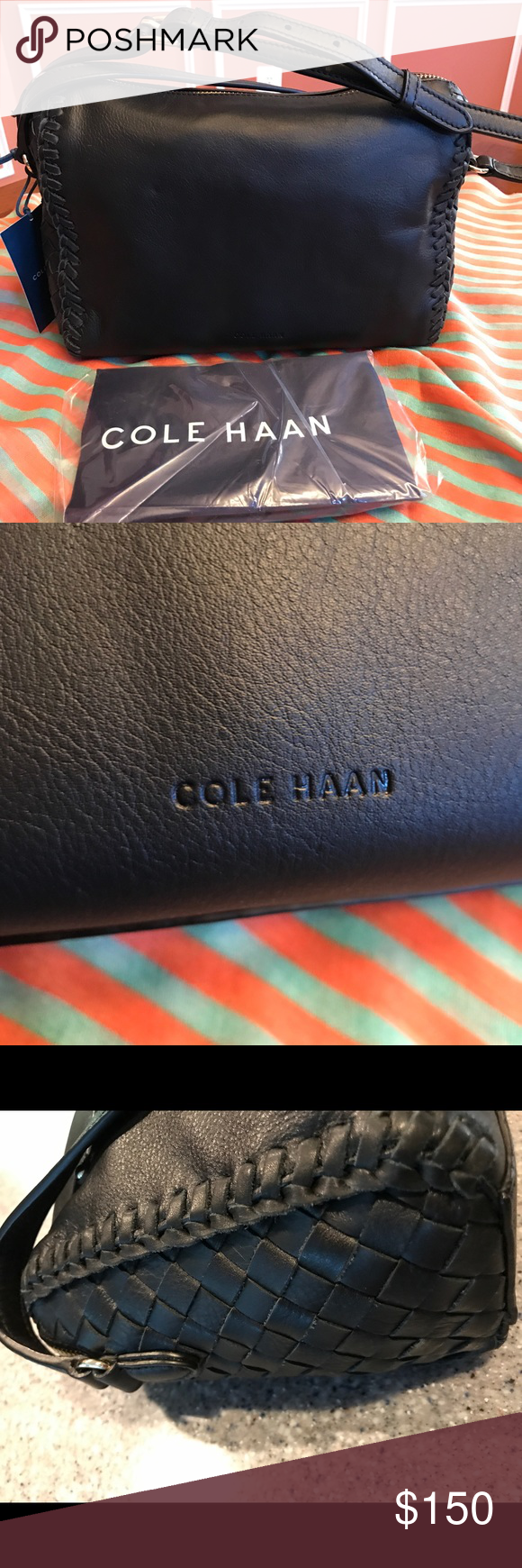a56cdefdbe COLE HAAN DILLAN LEATHER CROSSBODY Authentic Cole HAAN Dillan CrossBody Bag  is New w/Tags. Soft black leather with weaved sides and silver hardware, ...