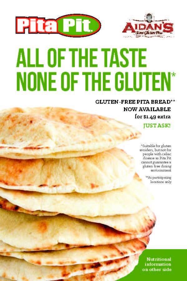 Pita Pit Now Carrying Gluten Free Pita S Gluten Free Pita Pita Pit Gluten Free Restaurants