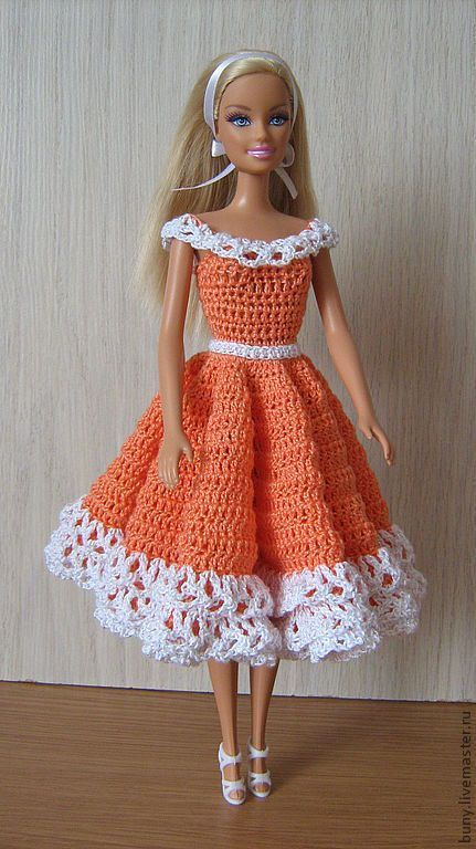 Patrones de vestidos para muñecas barbie a crochet   Tejido ...