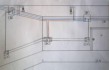 Circuito Electrico Simple De Una Casa : Esquema de un circuito eléctrico con un conmutador doble cableado