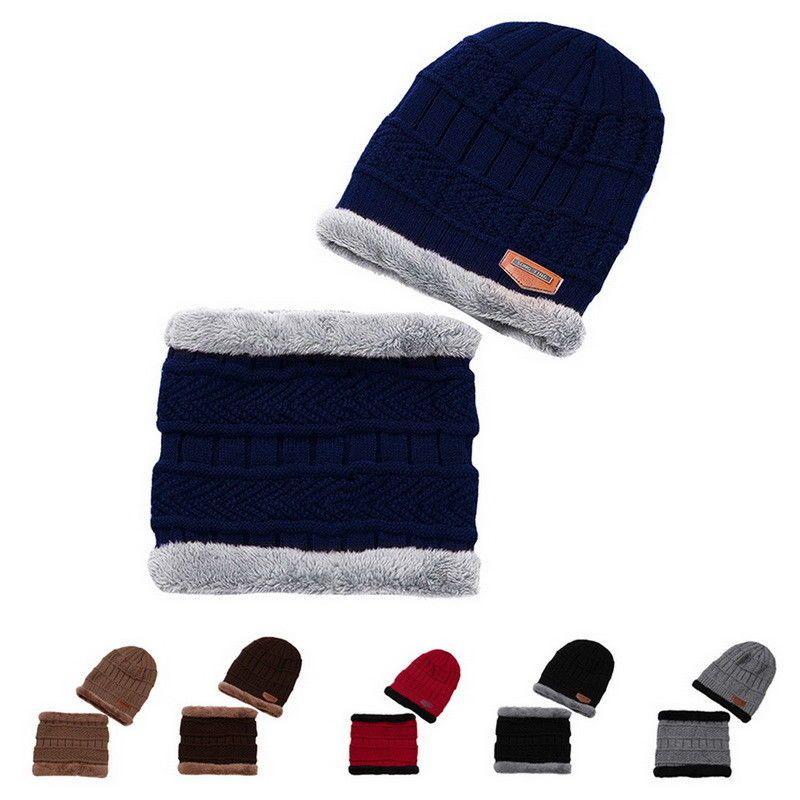 Men Beanie Hat Scarf Set Fleece Lining Knit Hats Warm Thick Winter Ski  Mountain  fashion f3075ff7b9
