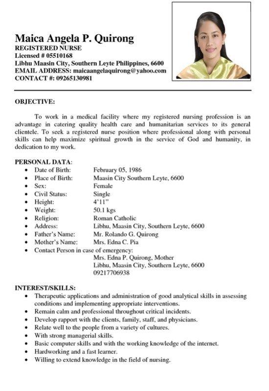 Sample Resume Registered Nurse Philiphines Sample Resume Format Job Resume Format Sample Resume Templates