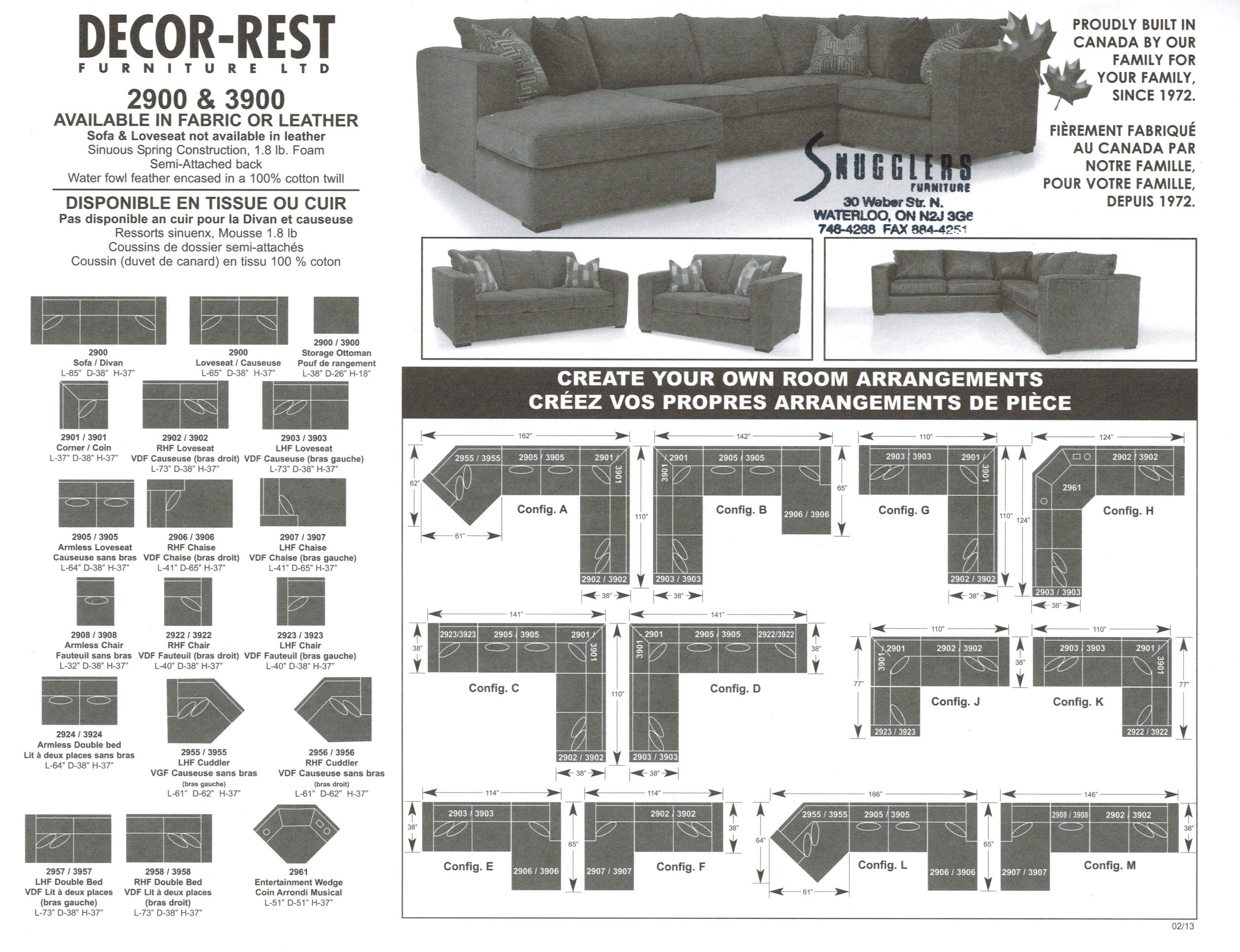 Living Room Furniture Designed2B Dax 3 Piece Chenille Sectional