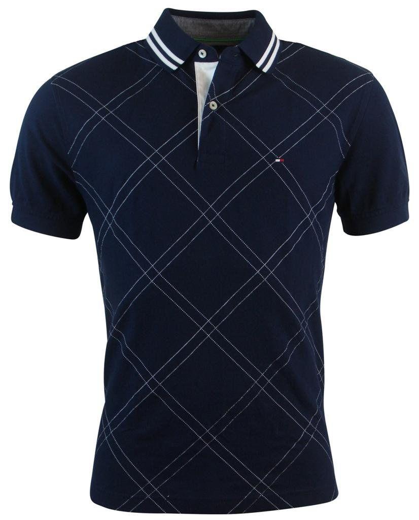 32a17088 Tommy Hilfiger Mens Classic Fit Argyle Stitch Logo Polo Shirt - L - Navy