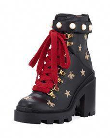 6e5b06b99 Gucci Flat Trip Leather Hiking Boot  Hiking