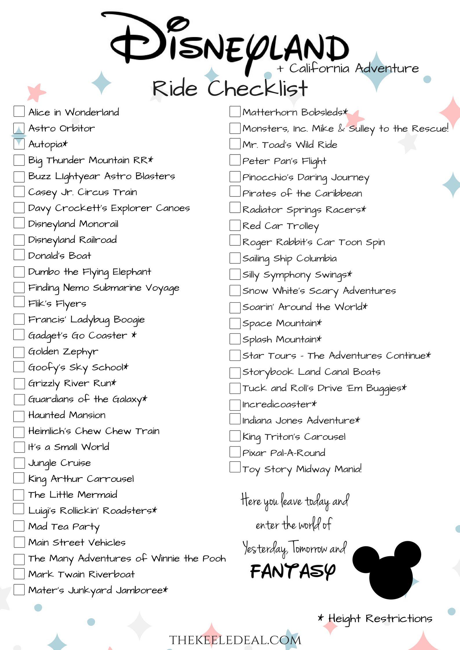 Disneyland Ride Checklist Free Printable