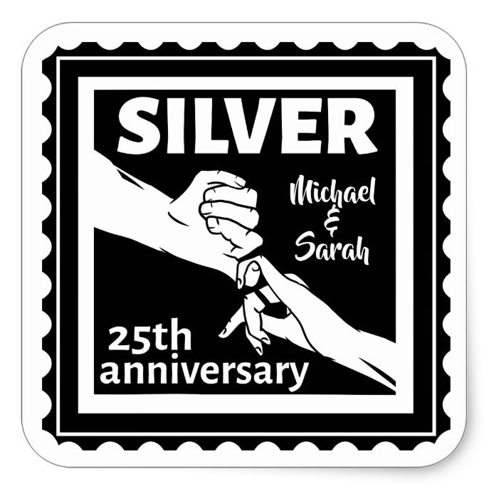17 Year Wedding Anniversary Traditional Gift: Wedding Anniversary 25 Years Silver Square Sticker