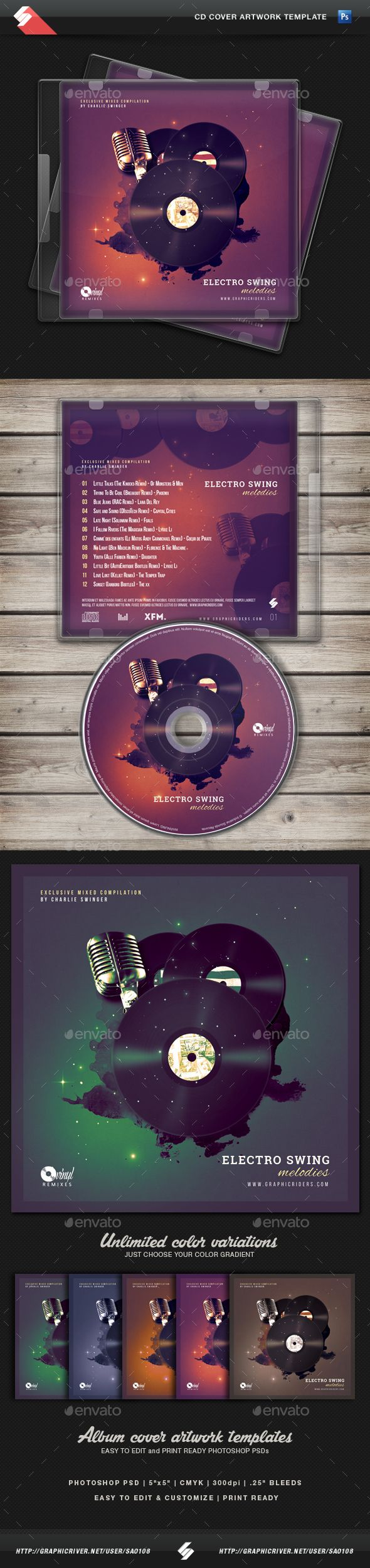 Electro Swing CD Cover Artwork Template   Pinterest