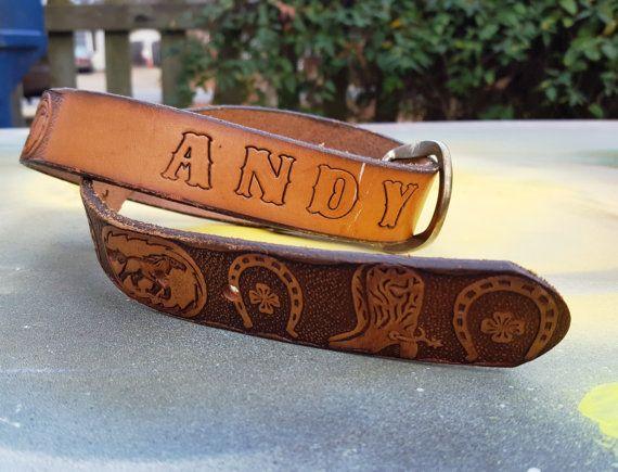 Vintage Belt Western Belt Name Belt Costume Andy Leather Belt Boys Belt Boots Tooled Leather Belt 70s Belt 70s Costume Belt Western Belts Tooled Leather Belts Vintage Belts