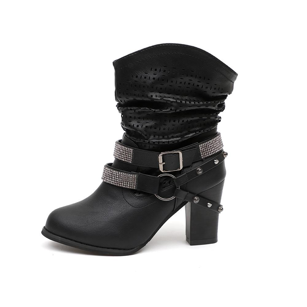 2948b3b074 Women Fashion Mid Calf Boots with Circle Straps Design Ankle Boots ...