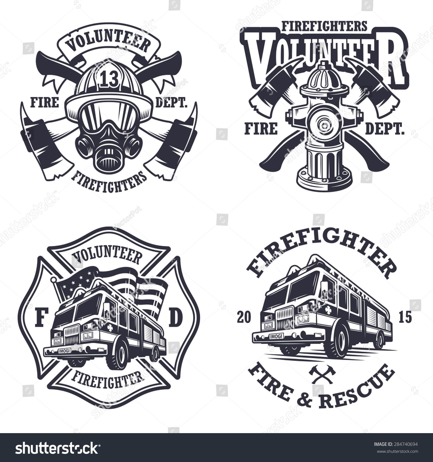 Set of firefighter emblems, labels, badges and logos on