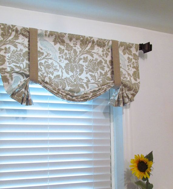 tie up valance polka dot taupe white blue lined curtain custom