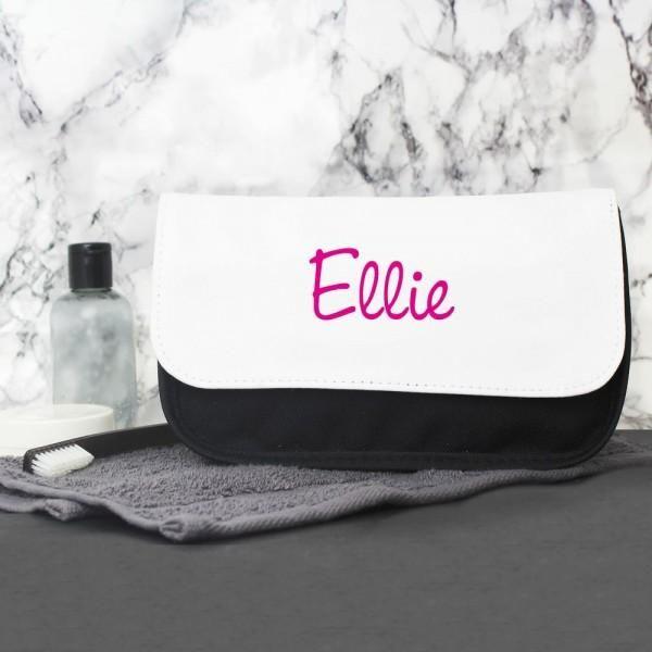 Personalisierte rosa Namensinsel-Schminktasche