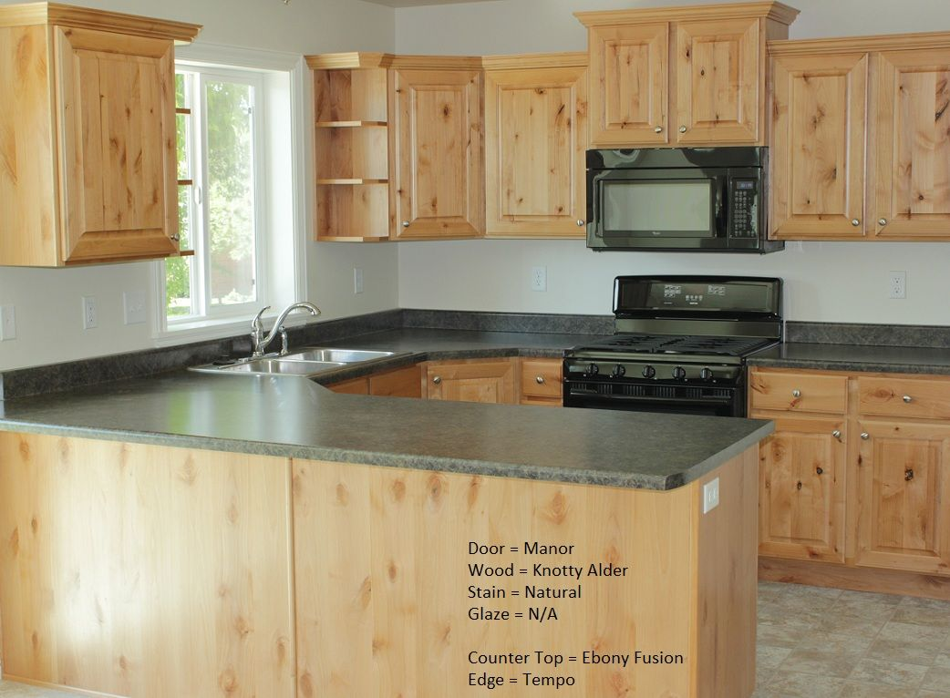 Kitchens with knotty alder wood cabinets google search for Alder kitchen cabinets