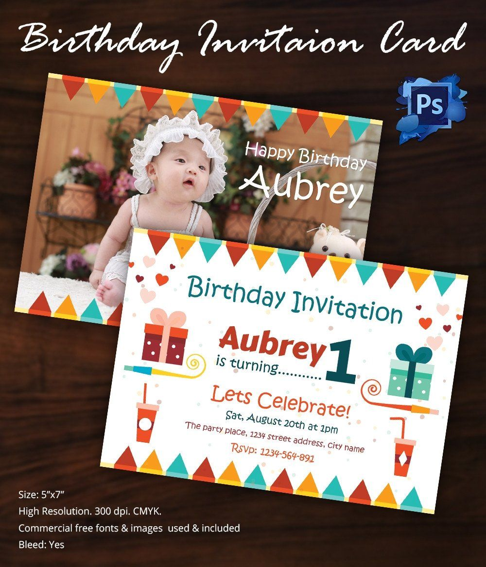 1st Birthday Invitation Template Birthday Invitation