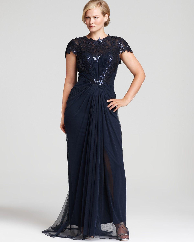 Plus size party dresses for weddings  Tadashi Shoji Plus Sequin Gown  Cap Sleeve Gathered Waist