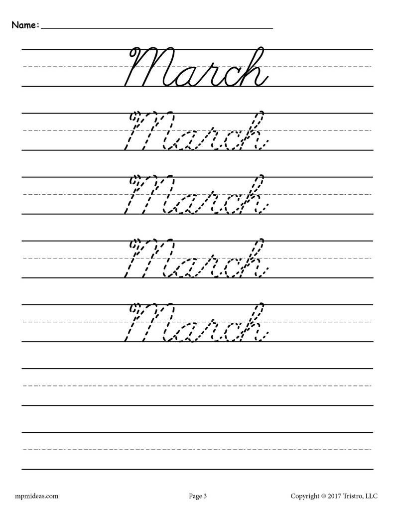 12 Months Of The Year Cursive Handwriting Worksheets In 2020 Cursive Handwriting Worksheets Handwriting Worksheets Handwriting Practice Sheets