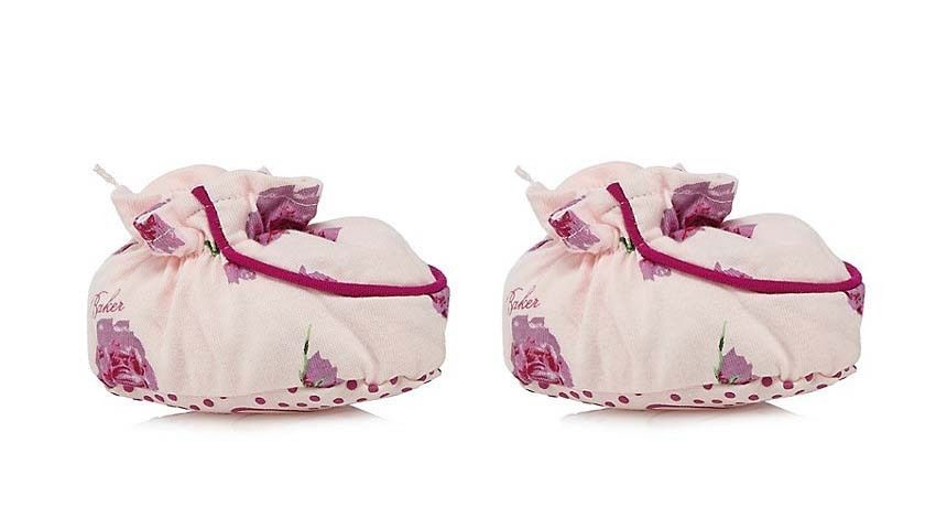 5cc08887d0dbe3 Ted Baker Baby Girls Socks Booties Pink Floral Designer Logo 6-9 Months