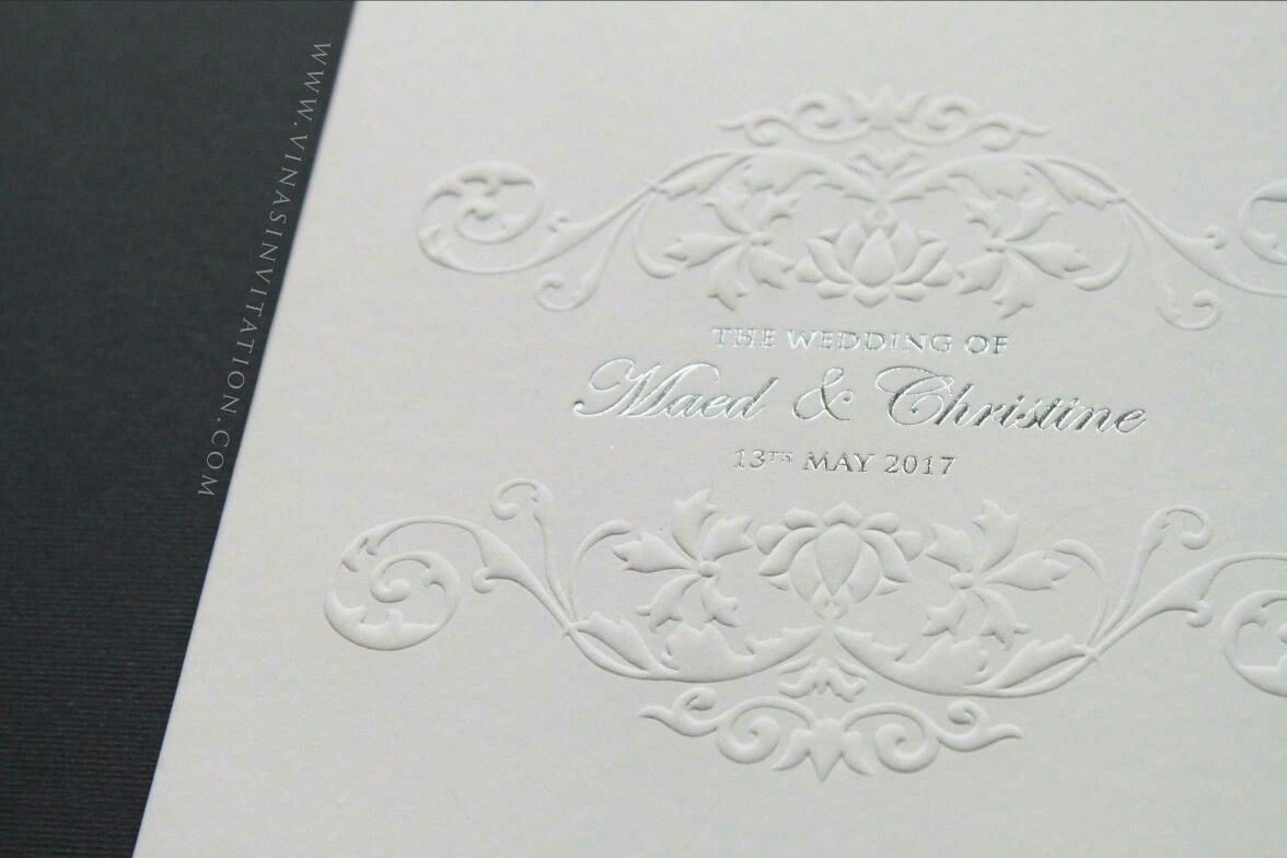 Vinas invitation. White emboss. Embossed invitation. Emboss. Sydney ...