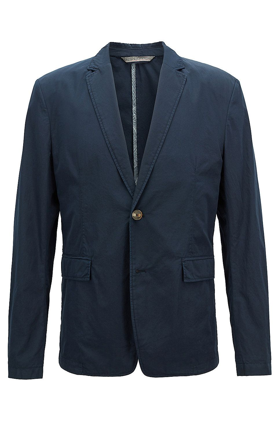 0a8ac9f6c HUGO BOSS Slim-fit blazer in lightweight Italian cotton - Dark Blue Blazers  from BOSS for Men in the official HUGO BOSS Online Store free shipping