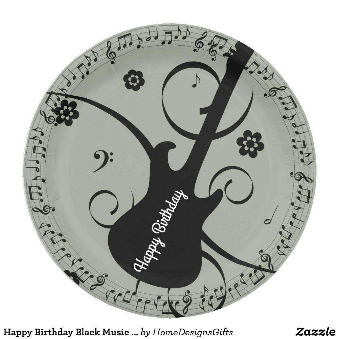 Happy Birthday Black Music Notes Guitar Flowers Paper Plate | All ...
