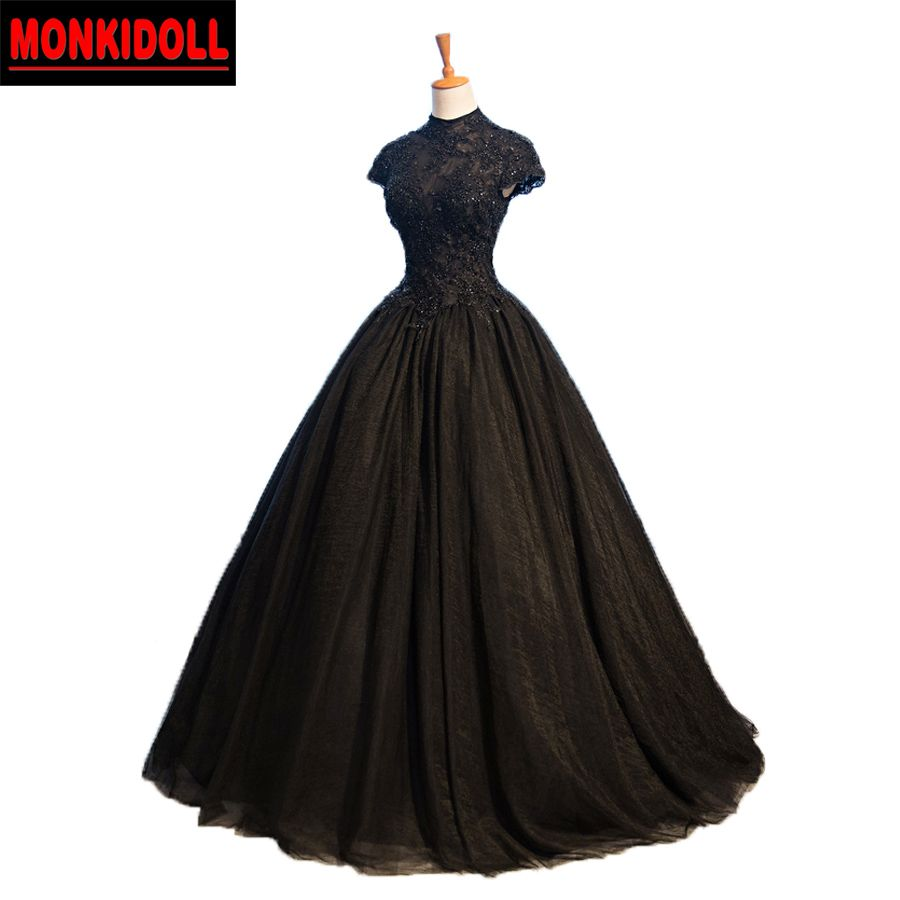 Vintage black wedding dresses  I LOVE THIS ONE Vintage Victorian High Neck Black Wedding Dresses