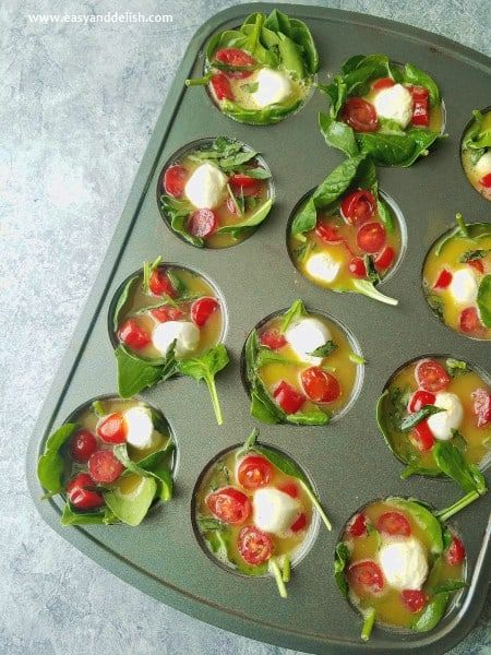 Quick And Easy Grab And Go Caprese Breakfast Egg Cups Recipe Egg Cups Breakfast Egg Breakfast Healthy Recipes Easy Snacks