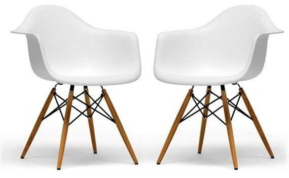 Set Of 2 Eiffel Molded Arm Chair Wood Leg White,Black,Green,